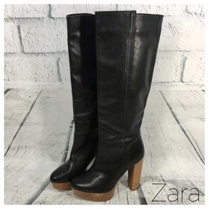 Zara Leather Platform knee-high boots. Size 6.5/37